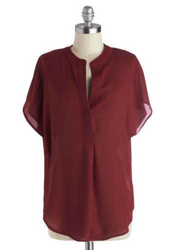 Bask in the Breeze Top in Burgundy - Red, Solid, Casual, Short Sleeves, Good, Long, Chiffon, Woven, Red, Short Sleeve