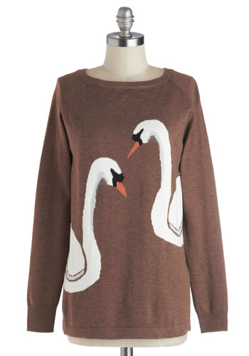 Swan of a Kind Sweater by Sugarhill Boutique - Print with Animals, Mid-length, Cotton, Knit, Brown, Orange, Black, White, Casual, Long Sleeve, Fall, Novelty Print, Brown, Long Sleeve, Gifts Sale
