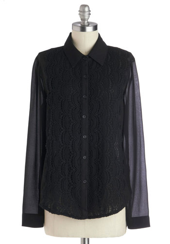 Midnight Melody Top - Black, Solid, Buttons, Work, Long Sleeve, Mid-length, Chiffon, Sheer, Woven, Crochet, Button Down, Collared, Menswear Inspired, Black, Long Sleeve