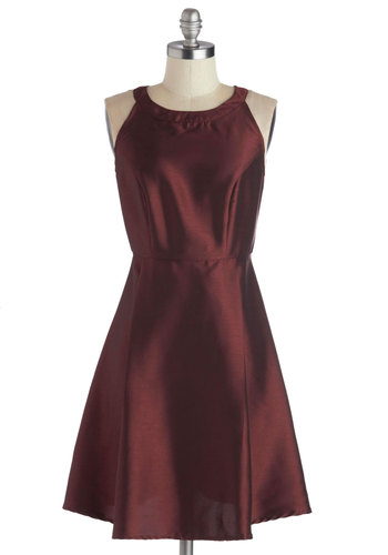 Sommelier Like You Dress - Mid-length, Woven, Red, Solid, Cutout, Cocktail, A-line, Sleeveless, Good, Holiday Party, Luxe, Satin, Exclusives