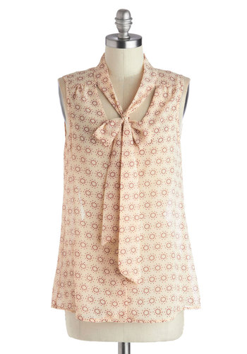 Country Cooking Top - Tan, Red, Work, Sleeveless, Good, Mid-length, Chiffon, Sheer, Woven, Print, Tie Neck, Brown, Sleeveless, Spring