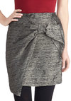 Pyrite This Way Skirt - Short, Woven, Grey, Bows, Party, Cocktail, Girls Night Out, Holiday Party, Winter, Mini, Grey