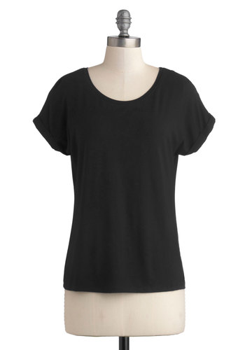 Breezy Basics Top in Black - Mid-length, Jersey, Knit, Black, Solid, Casual, Short Sleeves, Good, Variation, Minimal, Basic, Scoop, Black, Short Sleeve