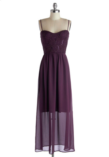 Aubergine the Moon Dress - Long, Purple, Solid, Lace, Sequins, Party, Maxi, Spaghetti Straps, Good, Sweetheart, Prom