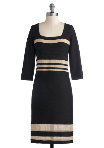 Par for the Chords Dress - Mid-length, Knit, Black, Tan / Cream, Stripes, 3/4 Sleeve, Better, Fall, Winter, Casual, Shift