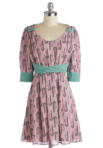 Fashion Plait Dress - Woven, Pink, Multi, Casual, A-line, 3/4 Sleeve, Better, Scoop, Mint, Novelty Print, Pastel, Quirky
