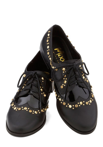 Blazon of Glory Flat - Black, Rhinestones, Studs, Menswear Inspired, Luxe, Lace Up, Low, Faux Leather, Better