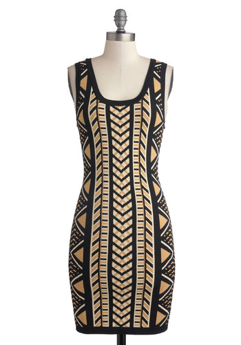 Cause and Effective Dress - Mid-length, Knit, Tan / Cream, Black, Print, Cutout, Girls Night Out, Bodycon / Bandage, Tank top (2 thick straps), Better, Scoop, Mini, 90s