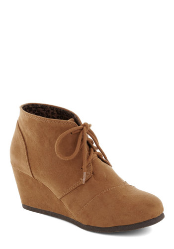 Check the Gait Bootie - Tan, Solid, Mid, Good, Platform, Wedge, Lace Up, Casual
