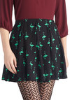 Flamingo Your Own Way Skirt - Black, Quirky, A-line, Good, Short, Chiffon, Woven, Print with Animals, Casual, Black