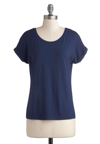 Breezy Basics Top in Navy - Mid-length, Jersey, Knit, Blue, Solid, Casual, Minimal, Short Sleeves, Variation, Basic, Scoop, Blue, Short Sleeve