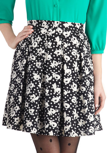Travel Day Skirt - Chiffon, Woven, Black, Polka Dots, Floral, Pleats, Work, Better, Daytime Party, Mid-length, Ballerina / Tutu, Black