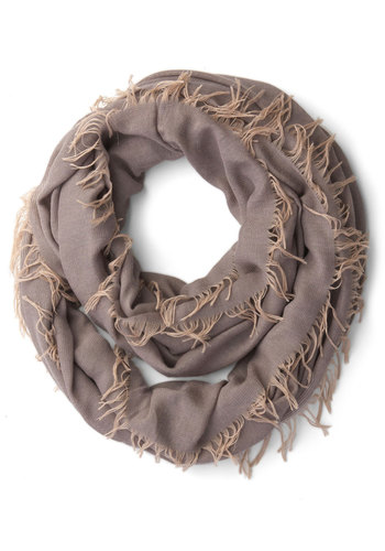 All-around Accent Circle Scarf - Grey, Solid, Fringed, Trim, Fall, Winter, Better, Woven