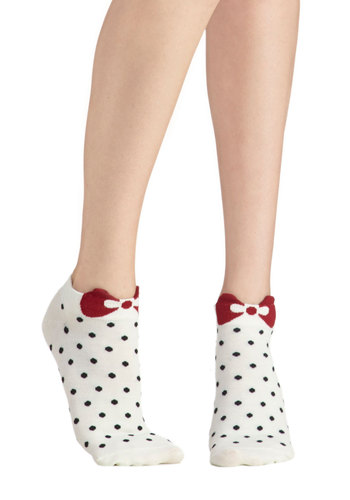 Spot Me Socks in Cream - White, Red, Black, Polka Dots, Bows, Good, Variation, Knit