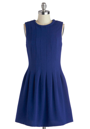 Pleat of My Heart Dress - Blue, Solid, Casual, A-line, Good, Woven, Pleats, Work, Crew, Mid-length