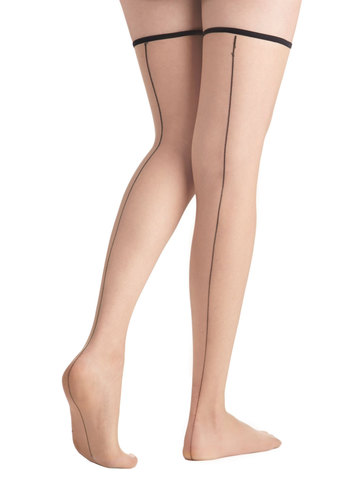 As Good as It Seams Thigh Highs - Sheer, Tan, Black, Solid, Pinup, Good, Film Noir, Vintage Inspired, 40s, 50s