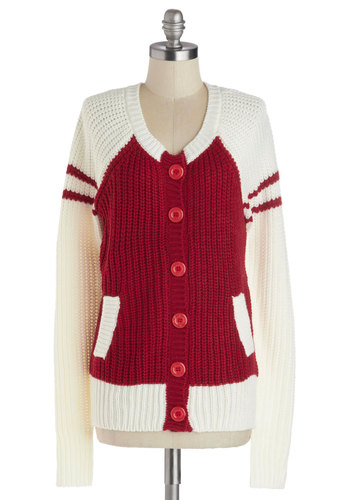 Prep Squad Cardigan - Mid-length, Red, White, Solid, Buttons, Knitted, Casual, Scholastic/Collegiate, Long Sleeve, Pockets, Fall, Red, Long Sleeve
