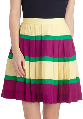 Sacramento Style Skirt by Myrtlewood - Private Label, Mid-length, Woven, Multi, Stripes, Pleats, Work, Daytime Party, Exclusives, Ballerina / Tutu, Multi