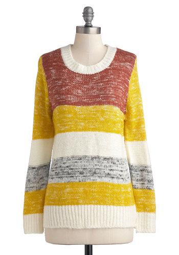 Autumn Sunset Sweater - Knit, Mid-length, Multi, Yellow, Brown, White, Stripes, Knitted, Casual, Long Sleeve, Yellow, Long Sleeve