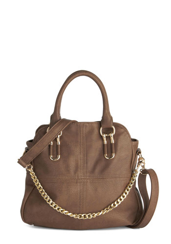 Acorn Pie Bag by Melie Bianco - Brown, Gold, Solid, Work, Better, Faux Leather, Chain