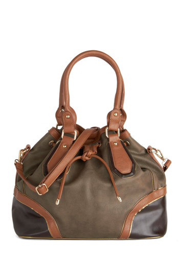 Triple Chocolate Bag by Melie Bianco - Tan / Cream, Solid, Trim, Work, Colorblocking, Better, Faux Leather, Brown, Military