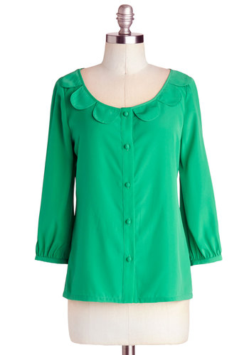 First Place Petal Top by Myrtlewood - Private Label, Mid-length, Woven, Green, Solid, Buttons, Scallops, Work, Vintage Inspired, 3/4 Sleeve, Scoop, Green, 3/4 Sleeve