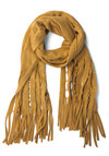 Yellow, How Are You? Scarf - Yellow, Solid, Eyelet, Fringed, Knitted, Fall, Winter, Better, Knit