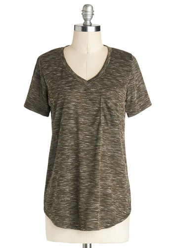 Carefree for the Day Top in Olive - Mid-length, Jersey, Knit, Green, Pockets, Casual, Short Sleeves, Variation, V Neck, Green, Short Sleeve