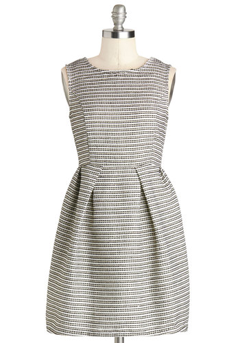 Conference Happy Hour Dress - Tan / Cream, Stripes, Party, Cocktail, Fit & Flare, Crew, Short, Woven, Black, Work, Sleeveless