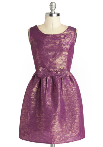 Parallel Sparkling Dress - Purple, Gold, Solid, Bows, Prom, Party, Fit & Flare, Tank top (2 thick straps), Scoop, Short, Woven, Wedding, Bridesmaid, Vintage Inspired, 60s, Holiday Party