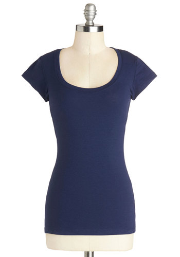 Learn the Basics Top in Deep Blue - Cotton, Knit, Mid-length, Blue, Solid, Casual, Short Sleeves, Good, Blue, Short Sleeve