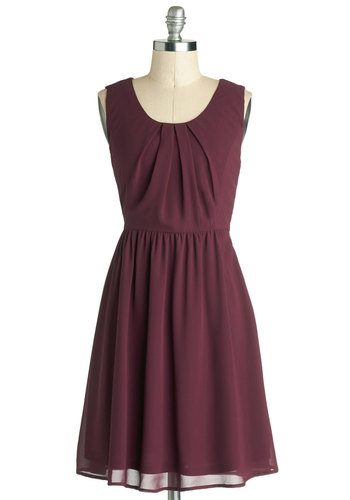 Simple Meets Sweet Dress - Mid-length, Chiffon, Woven, Purple, Solid, Buttons, Daytime Party, A-line, Tank top (2 thick straps), Good, Scoop, Pleats, Work