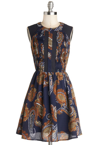 I Feel Witty Dress - Mid-length, Woven, Blue, Orange, Tan / Cream, Paisley, Backless, Pleats, Casual, A-line, Sleeveless, Crew