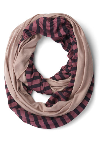 Peek of Pattern Circle Scarf Set in Berry Oatmeal - Pink, Solid, Stripes, Good, Cotton, Blue, Casual, Jersey, Knit, Variation, Fall