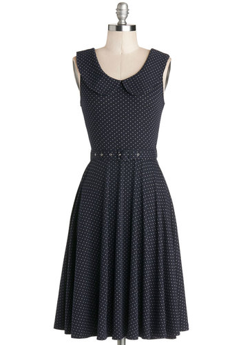 Prairie Nice to See You Dress - Jersey, Knit, Blue, Polka Dots, Peter Pan Collar, Pockets, Belted, Casual, A-line, Sleeveless, Good, Collared, Grey, Long