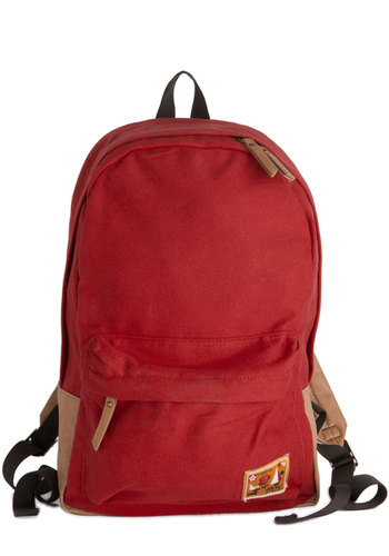 Trail and Rail Backpack - Red, Tan / Cream, Solid, Colorblocking, Scholastic/Collegiate, Good, Cotton, Travel