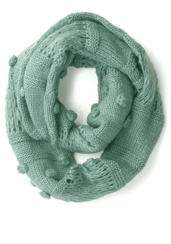 Mint to Charm Circle Scarf - Mint, Solid, Knitted, Poms, Fall, Winter, Better, Knit, Pastel