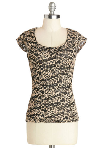 Featured Wine Top - Mid-length, Sheer, Knit, Tan / Cream, Black, Floral, Cap Sleeves, Scoop, Black, Short Sleeve