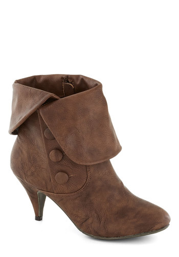 Threshold My Attention Bootie by Bait Footwear - Brown, Buttons, Vintage Inspired, 60s, 70s, Mod, Mid, Better, Faux Leather, Solid