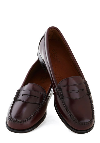 Loafer and Over Flat in Burgundy by Bass - Solid, Menswear Inspired, Flat, Leather, Brown, Work, Scholastic/Collegiate, 90s, Best