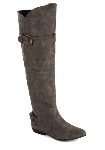 Pillars of Success Boot - Grey, Solid, Faux Leather, Flat, Good, Casual, Fall