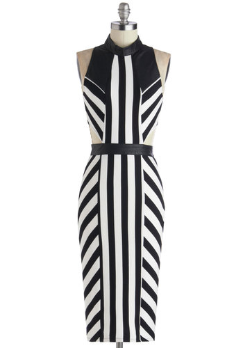 Sculptor's Debut Dress - Long, Faux Leather, Woven, Black, White, Stripes, Cutout, Girls Night Out, Bodycon / Bandage, Sleeveless, Good, Exposed zipper