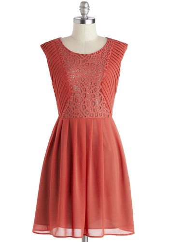 You Goji, Girl Dress - Mid-length, Woven, Solid, Crochet, A-line, Sleeveless, Better, Scoop, Pink, Pleats, Daytime Party