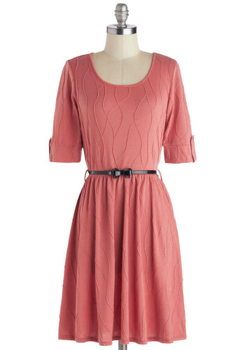Sun-kissed Petals Dress in Rose - Knit, Mid-length, Pink, Solid, Bows, Belted, Casual, A-line, Short Sleeves, Good, Scoop, Sweater Dress, Variation, Winter