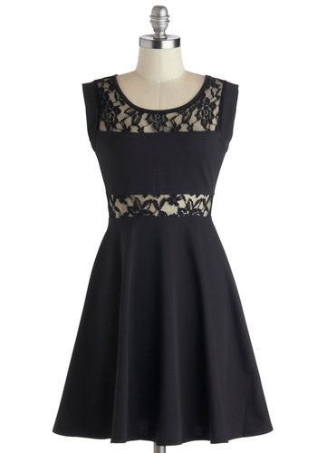 East Side Storybook Dress - Short, Knit, Black, Solid, Lace, Party, A-line, Sleeveless, Good, Scoop, Cutout, Girls Night Out, LBD