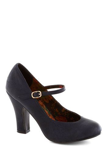 Corner Office Confidence Heel in Ink by Bait Footwear - Blue, Solid, Work, Film Noir, Mary Jane, Chunky heel, Mid, Faux Leather, Vintage Inspired, 40s, Basic, Better