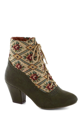 From the Same Cloth Boot in Forest by Bait Footwear - Green, Multi, Floral, Folk Art, Mid, Better, Lace Up, Chunky heel, Woven, Fall, Gifts Sale