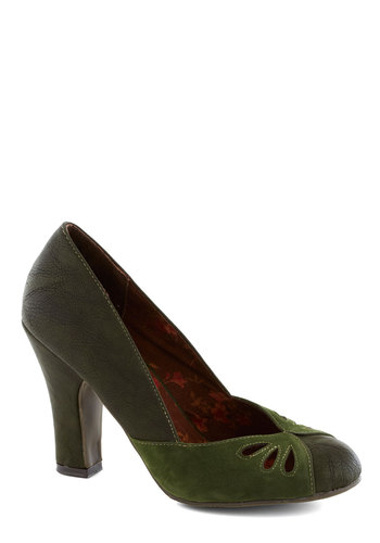 Ahead of Thyme Heel by Bait Footwear - Green, Cutout, Work, Daytime Party, High, Better, Chunky heel, Faux Leather, Solid