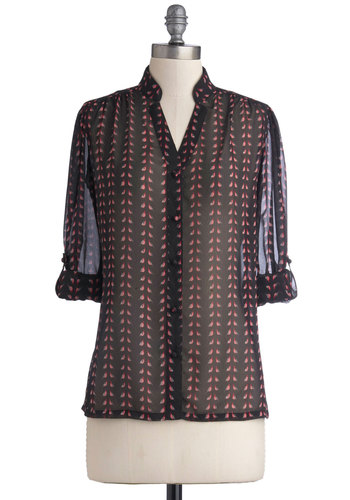 Sheer Gladness Top - Mid-length, Chiffon, Sheer, Woven, Black, Pink, Print with Animals, Buttons, Casual, Long Sleeve, Exclusives