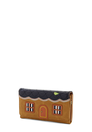 On the House Wallet - Tan, Multi, Embroidery, Quirky, Faux Leather, Blue, Novelty Print